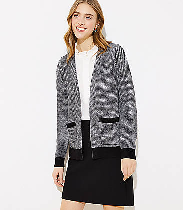 로프트 LOFT Textured Pocket Open Cardigan,Black