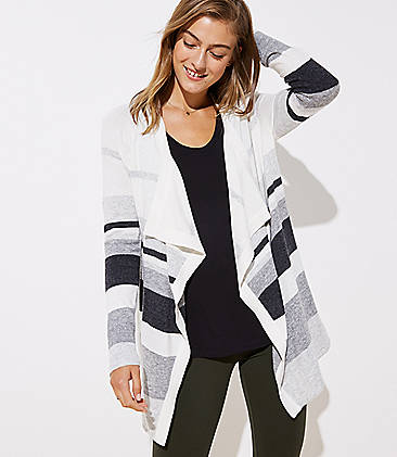 로프트 LOFT Striped Draped Open Cardigan,Pale Grey Heather