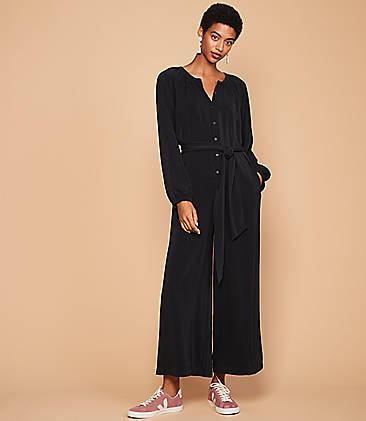 로프트 LOFT Lou & Grey Blouson Tie Waist Jumpsuit,Black