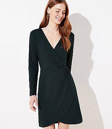 로프트 LOFT Shirred Wrap Dress,Dark Thicket Green