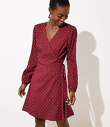 로프트 LOFT Star Wrap Dress,Cranberry Spritz