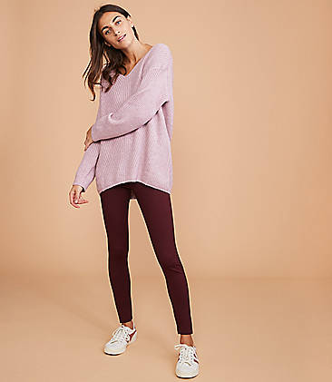 로프트 LOFT Lou & Grey Side Zip Ponte Leggings,Dark Burgundy