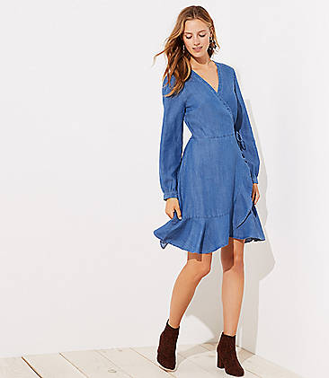 로프트 LOFT Chambray Ruffle Wrap Dress,Shadow Blue Chambray
