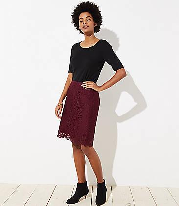 로프트 LOFT Scalloped Lace Pencil Skirt,Mauve Rose