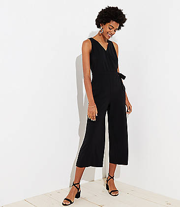 로프트 LOFT Cropped Wrap Jumpsuit,Black