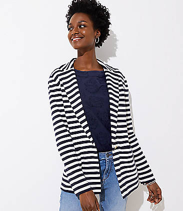 로프트 LOFT Striped Sweater Blazer,Whisper White