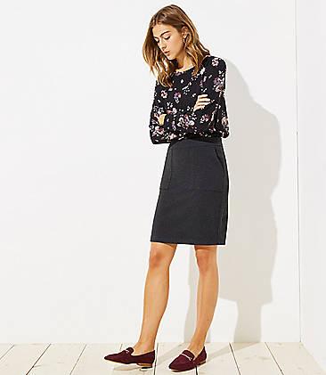 로프트 LOFT Knit Pocket Pull On Pencil Skirt,Charcoal