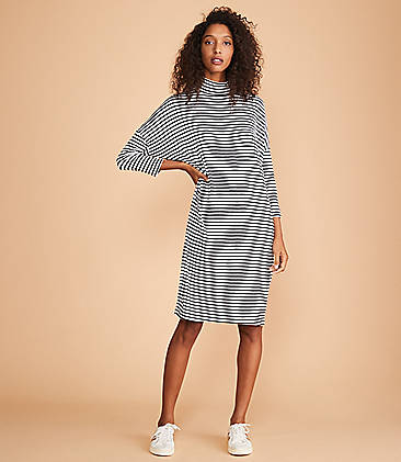 Lou & Grey Striped Turtleneck Signaturesoft Dolman Dress