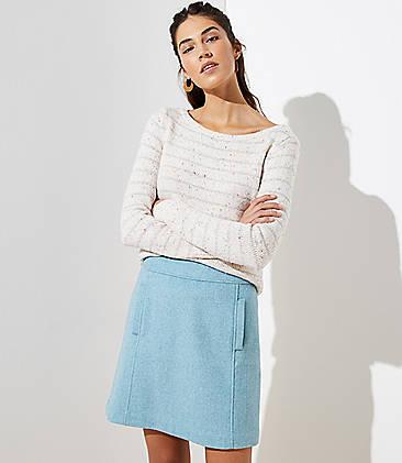 로프트 LOFT Wooly Pocket Shift Skirt,Light Tourmaline