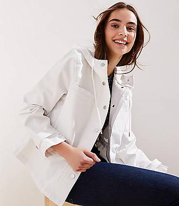 로프트 LOFT Hooded Drawstring Jacket,Bright Snowflake