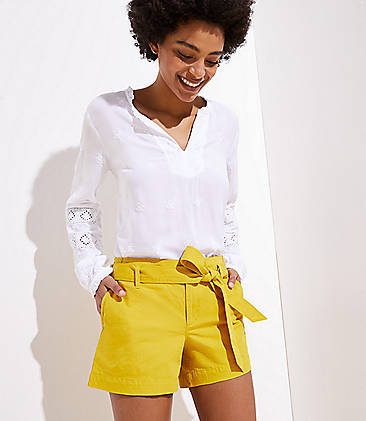 로프트 LOFT Twill Tie Waist Shorts,Golden Honeycomb
