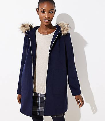 로프트 LOFT Faux Fur Trim Coat,Industrial Navy