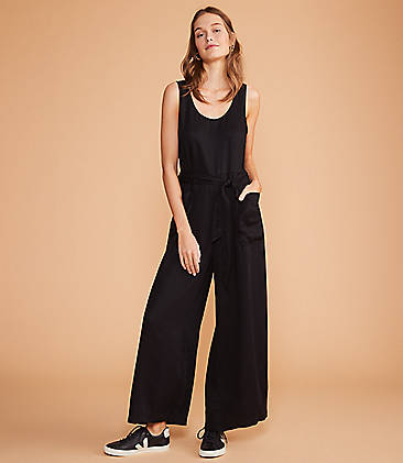로프트 LOFT Lou & Grey Fluid Twill Tie Waist Jumpsuit,Black