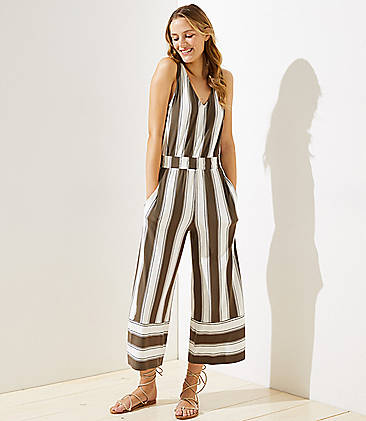 로프트 LOFT Beach Striped Wide Leg Crop Jumpsuit,Whisper White