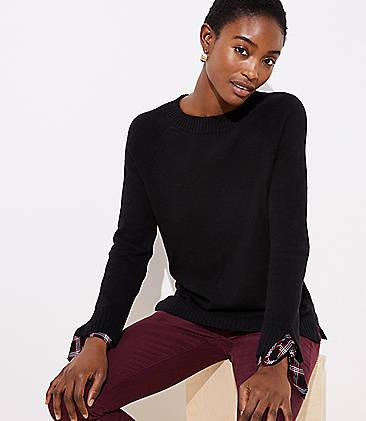 Plaid Tie Cuff Mixed Media Sweater