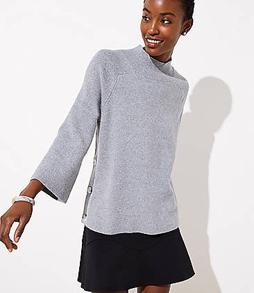 로프트 LOFT Mock Neck Side Button Sweater,Pure Grey Heather