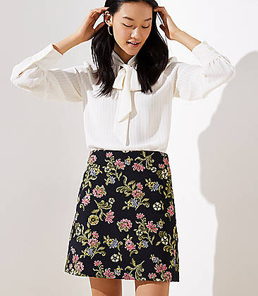 로프트 LOFT Floral Vine Jacquard Shift Skirt,Black