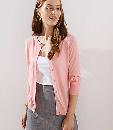 로프트 LOFT Gilded Button Signature Cardigan,Rosebud Pink