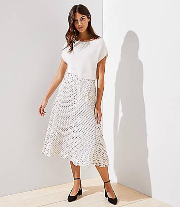 로프트 LOFT Tie Waist Pleated Midi Skirt,Whisper White