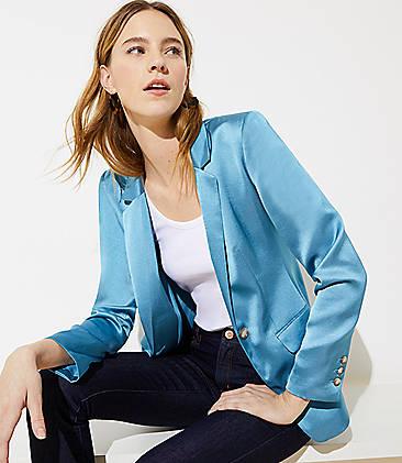 로프트 LOFT Satin Modern Blazer,Fountain Blue