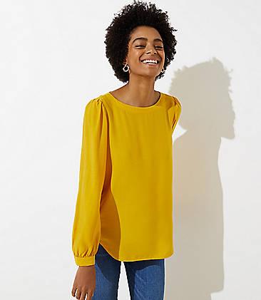 로프트 LOFT Shirttail Blouse,Golden Yellow
