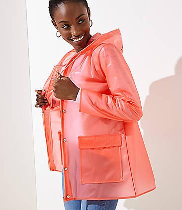 로프트 LOFT Solid Raincoat,Coral Creamsicle