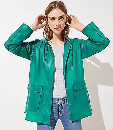 로프트 LOFT Solid Raincoat,Glowing Jade