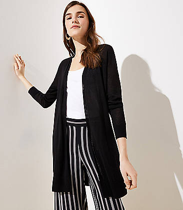 로프트 LOFT Sheer Open Cardigan,Black