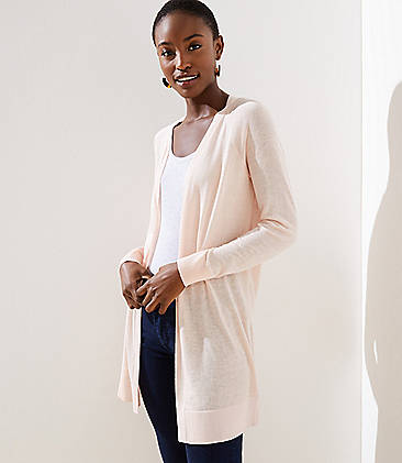 로프트 LOFT Sheer Open Cardigan,Pink Fizz
