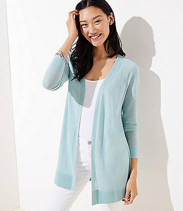 로프트 LOFT Sheer Open Cardigan,Cool Seafoam