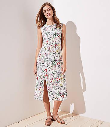 로프트 LOFT Floral Cap Sleeve Slit Dress,Whisper White
