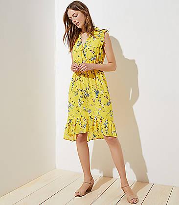 로프트 LOFT Floral Ruffle Flounce Dress,Banana Split