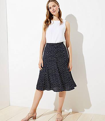 로프트 LOFT Dotted Godet Midi Skirt,Forever Navy