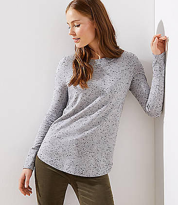 로프트 LOFT Speckled Shirttail Sweater,Light Grey Melange