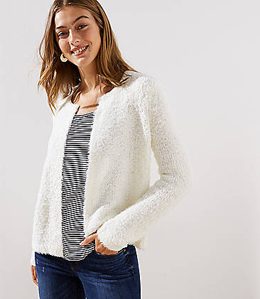 로프트 LOFT Fuzzy Open Sweater Jacket,Whisper White
