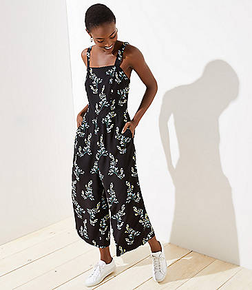 로프트 LOFT Flower Branch Jumpsuit,Black
