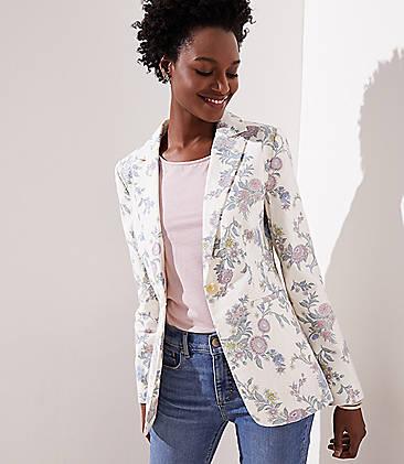 로프트 LOFT Floral Modern Blazer,Whisper White