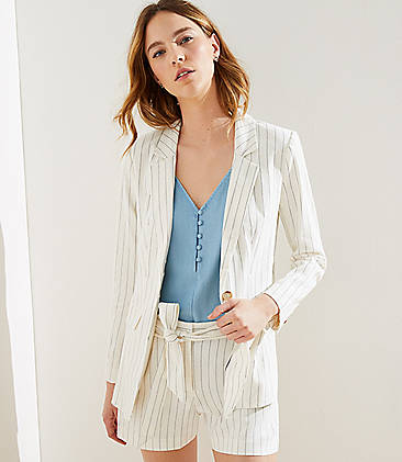 로프트 LOFT Pinstriped Modern Blazer,Whisper White