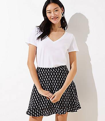 로프트 LOFT Floral Flounce Skirt,Black