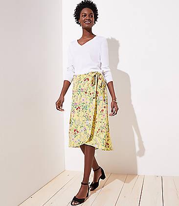 로프트 LOFT Floral Wrap Skirt,Banana Split