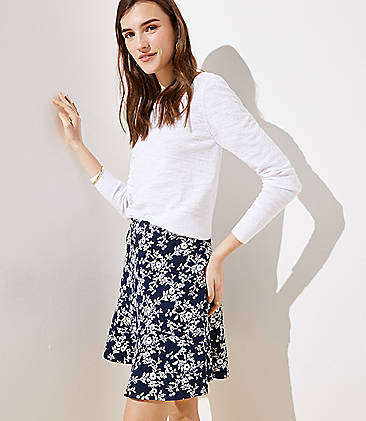 로프트 LOFT Floral Jacquard Pull On Flippy Skirt,Forever Navy