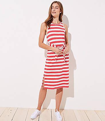 로프트 LOFT Beach Striped Tie Waist Midi Dress,Red Stripe