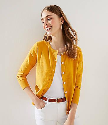 로프트 LOFT 3/4 Sleeve Cardigan,Mineral Yellow