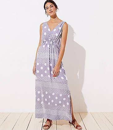 로프트 LOFT Beach Mixed Dot Drawstring Waist Maxi Dress,Shadow Grey