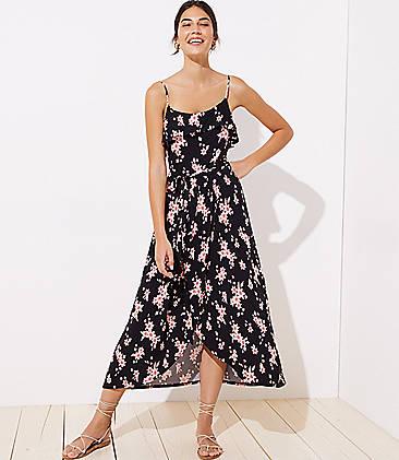 로프트 LOFT Beach Floral Tie Waist Wrap Dress,Black