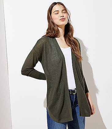로프트 LOFT Striped Shirttail Open Cardigan,Dark Eucalyptus Leaf