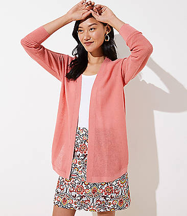 로프트 LOFT Striped Shirttail Open Cardigan,Pink Ruby