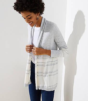 로프트 LOFT Striped Soft Open Cardigan,Silver Heather Grey