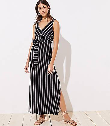 로프트 LOFT Beach Striped Tie Waist Maxi Dress,Black