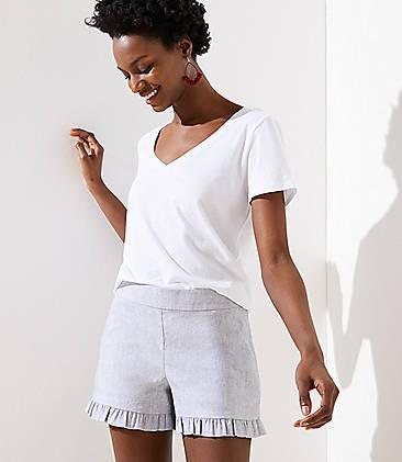 로프트 LOFT Ruffle Shorts with 3 1/2 Inch Inseam,Grey Novelty